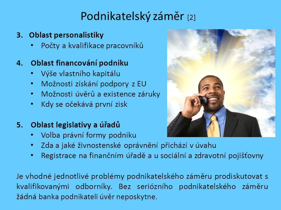 Podnikatelský záměr [2] 3. Oblast personalistiky Počty a kvalifikace pracovníků 4. Oblast financování podniku Výše vlastního kapitálu Možnosti získání