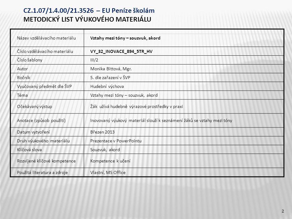 Název vzdělávacího materiáluVztahy mezi tóny – souzvuk, akord Číslo vzdělávacího materiáluVY_32_INOVACE_894_5TR_HV Číslo šablonyIII/2 AutorMonika Bitt