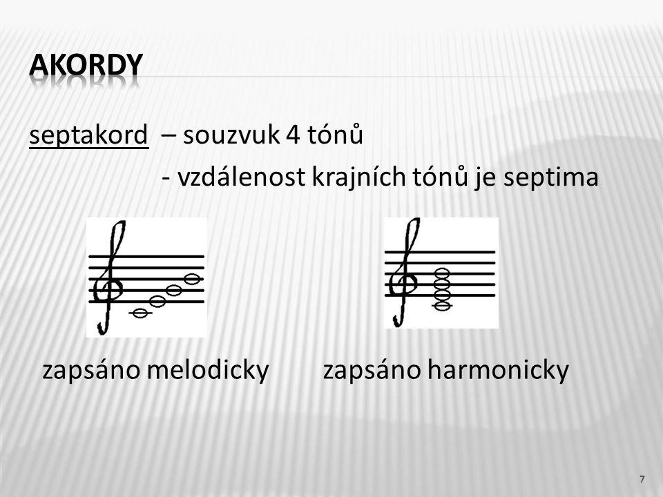 septakord– souzvuk 4 tónů - vzdálenost krajních tónů je septima 7 zapsáno melodickyzapsáno harmonicky