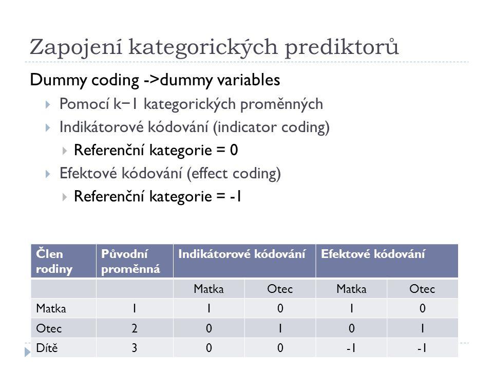 Zapojení kategorických prediktorů Dummy coding ->dummy variables  Pomocí k − 1 kategorických proměnných  Indikátorové kódování (indicator coding) 