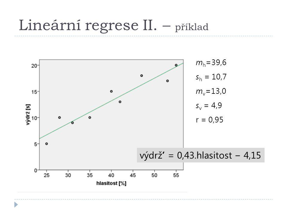 Lineární regrese II. – příklad m h =39,6 s h = 10,7 m v =13,0 s v = 4,9 r = 0,95 výdrž' = 0,43.hlasitost − 4,15