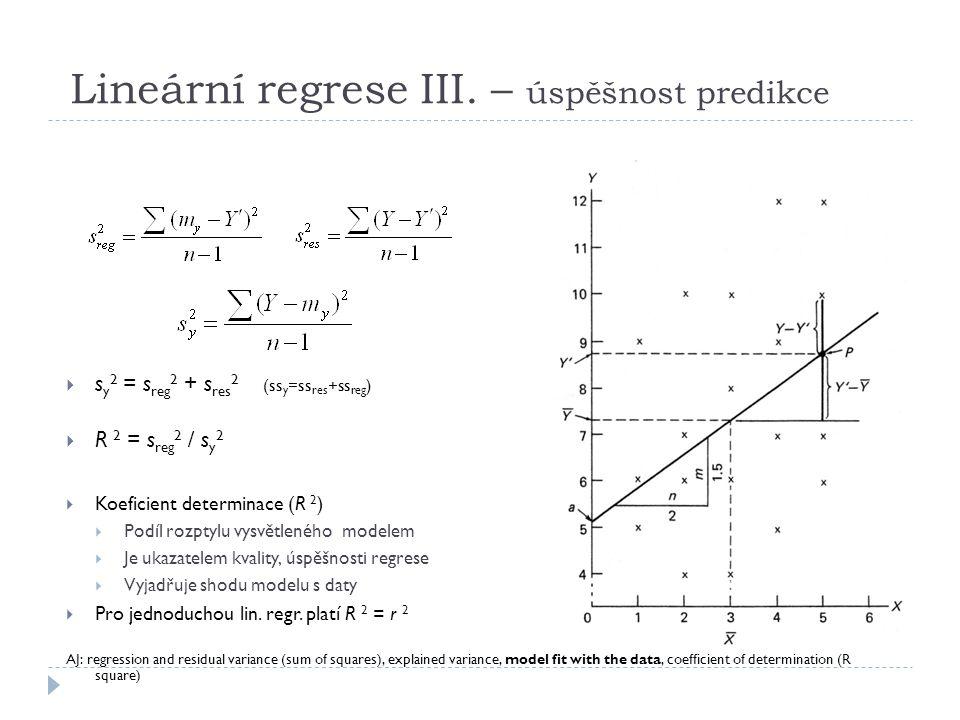 Lineární regrese III. – úspěšnost predikce  s y 2 = s reg 2 + s res 2 (ss y =ss res +ss reg )  R 2 = s reg 2 / s y 2  Koeficient determinace (R 2 )
