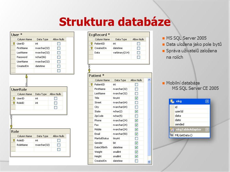 Struktura databáze MS SQL Server 2005 Data uložena jako pole bytů Správa uživatelů založena na rolích Mobilní databáze MS SQL Server CE 2005