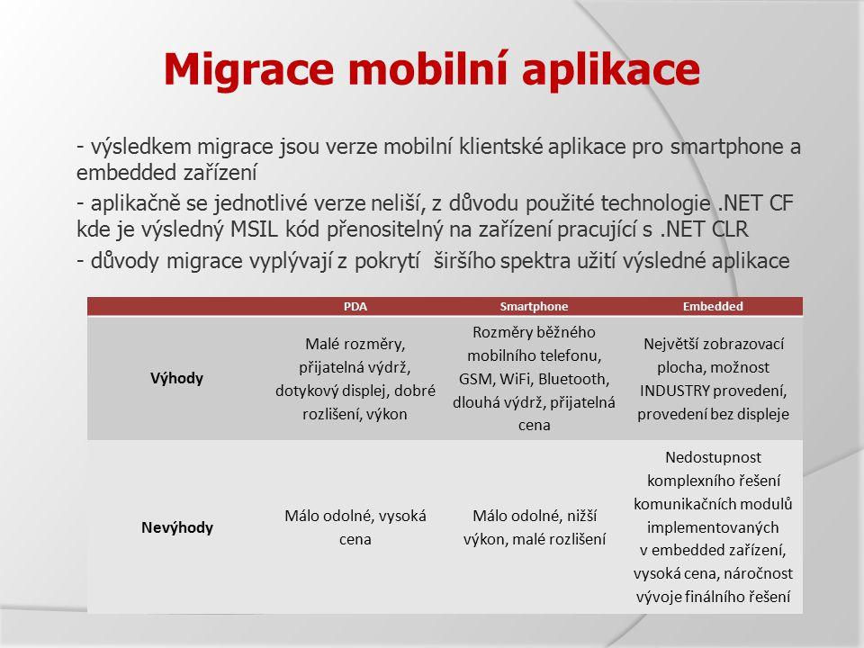 Migrace mobilní aplikace - výsledkem migrace jsou verze mobilní klientské aplikace pro smartphone a embedded zařízení - aplikačně se jednotlivé verze neliší, z důvodu použité technologie.NET CF kde je výsledný MSIL kód přenositelný na zařízení pracující s.NET CLR - důvody migrace vyplývají z pokrytí širšího spektra užití výsledné aplikace PDASmartphoneEmbedded Výhody Malé rozměry, přijatelná výdrž, dotykový displej, dobré rozlišení, výkon Rozměry běžného mobilního telefonu, GSM, WiFi, Bluetooth, dlouhá výdrž, přijatelná cena Největší zobrazovací plocha, možnost INDUSTRY provedení, provedení bez displeje Nevýhody Málo odolné, vysoká cena Málo odolné, nižší výkon, malé rozlišení Nedostupnost komplexního řešení komunikačních modulů implementovaných v embedded zařízení, vysoká cena, náročnost vývoje finálního řešení