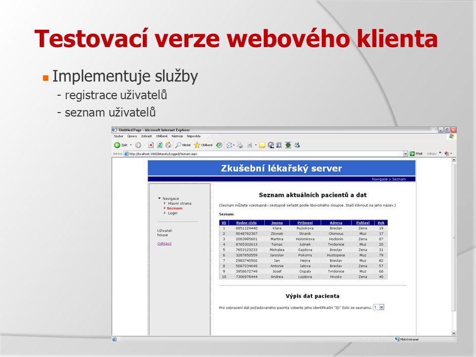 Testovací verze webového klienta Implementuje služby - registrace uživatelů - seznam uživatelů