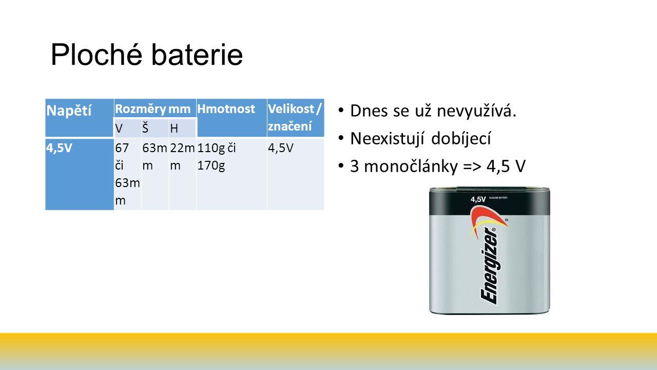 Ploché baterie Napětí Rozměry mmHmotnost Velikost / značení VŠH 4,5V67 či 63m m 63m m 22m m 110g či 170g 4,5V Dnes se už nevyužívá.