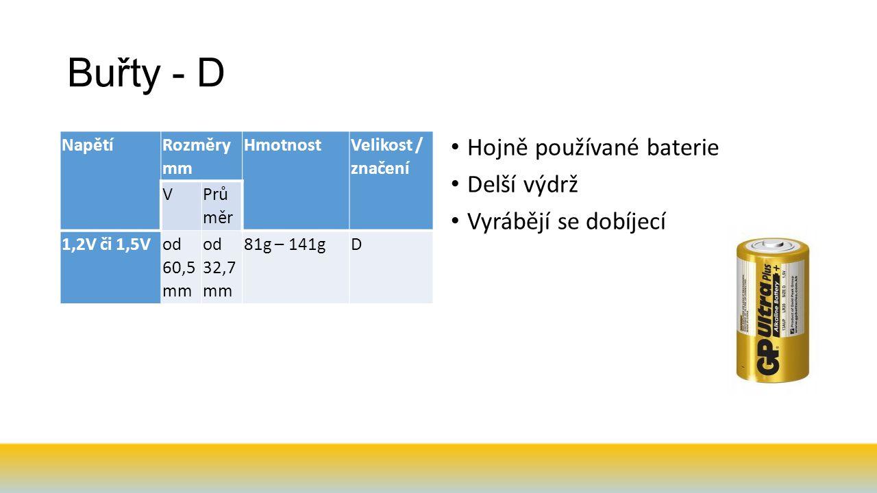 Buřty - D Napětí Rozměry mm Hmotnost Velikost / značení V Prů měr 1,2V či 1,5Vod 60,5 mm od 32,7 mm 81g – 141gD Hojně používané baterie Delší výdrž Vyrábějí se dobíjecí