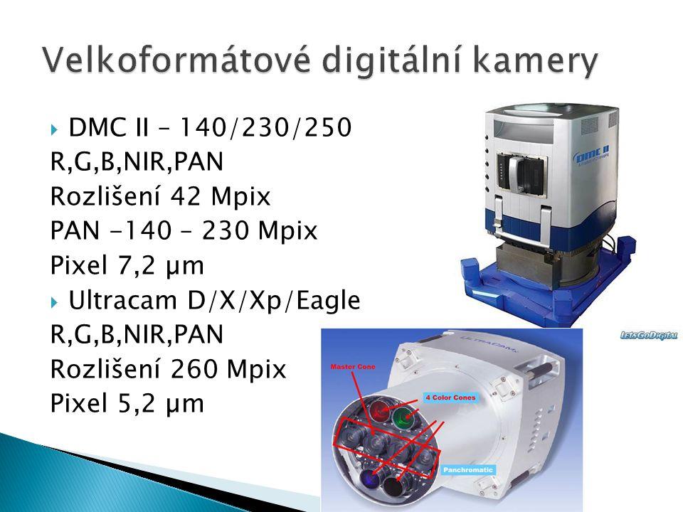 DMC II – 140/230/250 R,G,B,NIR,PAN Rozlišení 42 Mpix PAN -140 – 230 Mpix Pixel 7,2 µm  Ultracam D/X/Xp/Eagle R,G,B,NIR,PAN Rozlišení 260 Mpix Pixel 5,2 µm