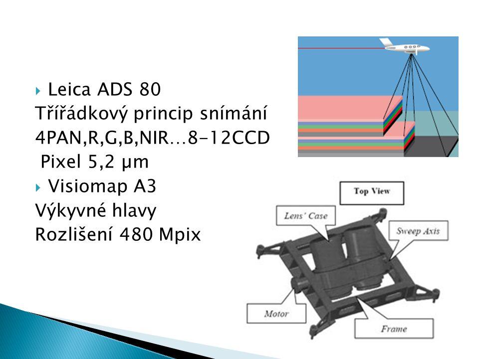  Leica ADS 80 Třířádkový princip snímání 4PAN,R,G,B,NIR…8-12CCD Pixel 5,2 µm  Visiomap A3 Výkyvné hlavy Rozlišení 480 Mpix
