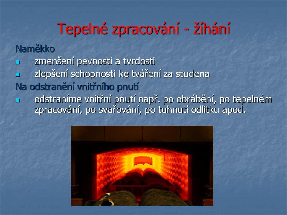 Tepelné zpracování - žíhání Naměkko zmenšení pevnosti a tvrdosti zmenšení pevnosti a tvrdosti zlepšení schopnosti ke tváření za studena zlepšení schop