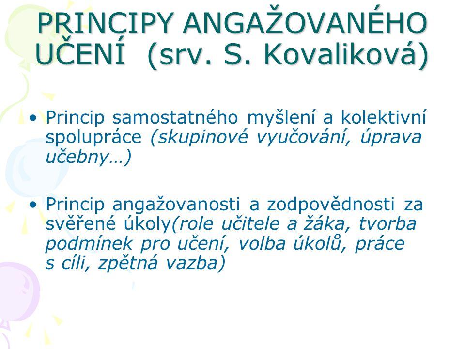 PRINCIPY ANGAŽOVANÉHO UČENÍ (srv. S. Kovaliková) Princip samostatného myšlení a kolektivní spolupráce (skupinové vyučování, úprava učebny…) Princip an