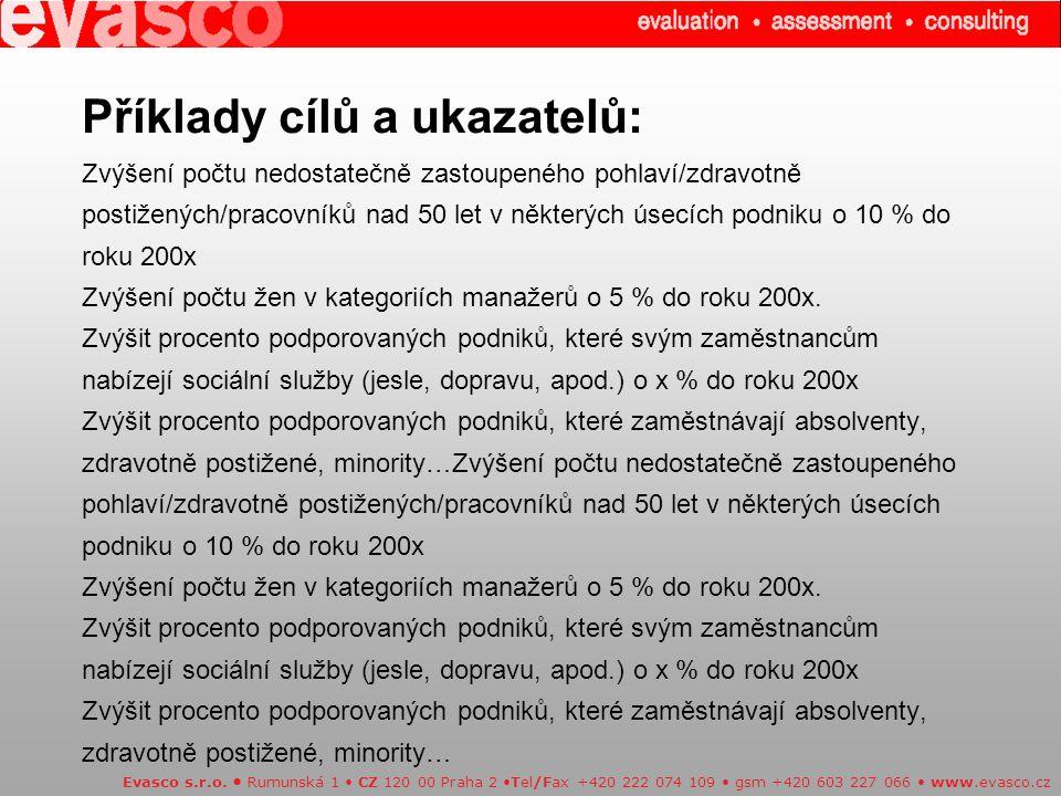 Příklady cílů a ukazatelů: Zvýšení počtu nedostatečně zastoupeného pohlaví/zdravotně postižených/pracovníků nad 50 let v některých úsecích podniku o 1