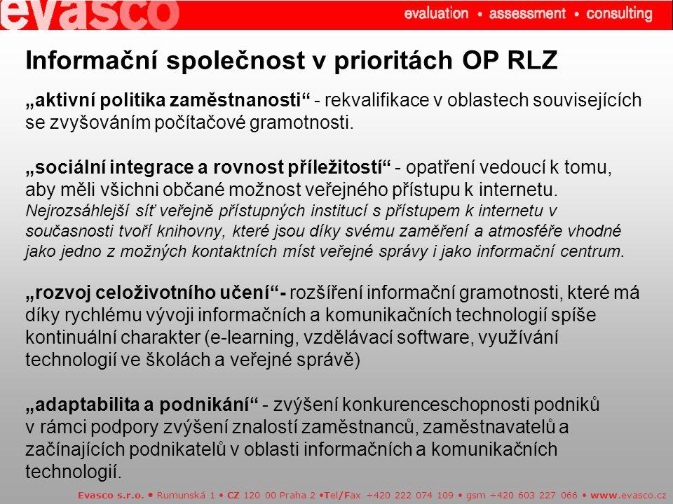 """Informační společnost v prioritách OP RLZ """"aktivní politika zaměstnanosti"""" - rekvalifikace v oblastech souvisejících se zvyšováním počítačové gramotno"""