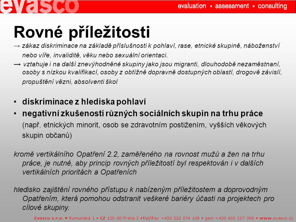 Evasco s.r.o. Rumunská 1 CZ 120 00 Praha 2 Tel/Fax +420 222 074 109 gsm +420 603 227 066 www.evasco.cz Rovné příležitosti → zákaz diskriminace na zákl