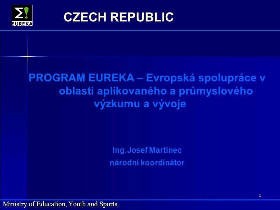 2 Ministry of Education, Youth and Sports CZECH REPUBLIC Cílem programu podporovat mezinárodní spolupráci mezi evropskými průmyslovými podniky, výzkumnými ústavy a vysokými školami při respektování národních procedur