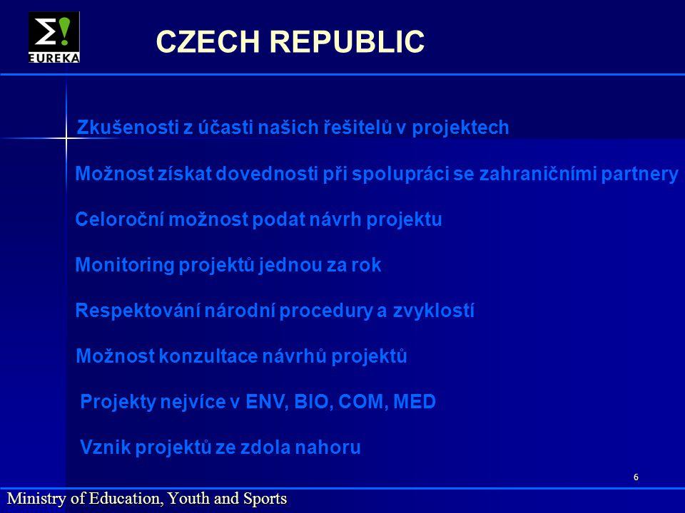 7 Ministry of Education, Youth and Sports CZECH REPUBLIC www.eureka.be www.msmt.cz tel. 257 193 512
