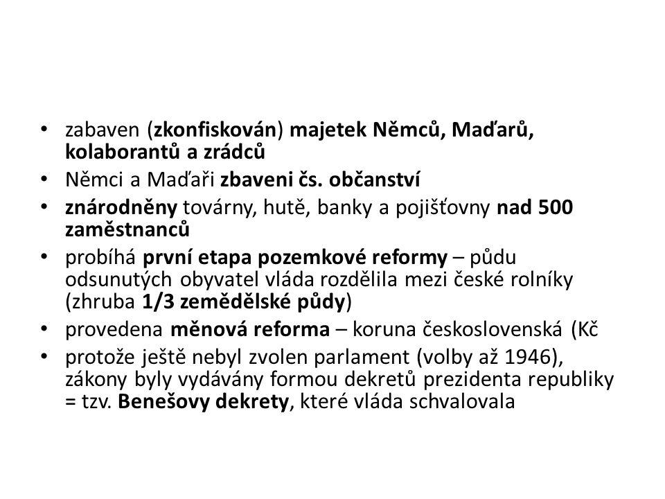 zabaven (zkonfiskován) majetek Němců, Maďarů, kolaborantů a zrádců Němci a Maďaři zbaveni čs.