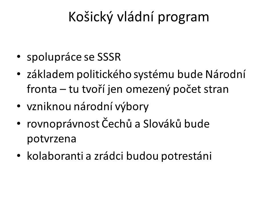Košický vládní program spolupráce se SSSR základem politického systému bude Národní fronta – tu tvoří jen omezený počet stran vzniknou národní výbory rovnoprávnost Čechů a Slováků bude potvrzena kolaboranti a zrádci budou potrestáni