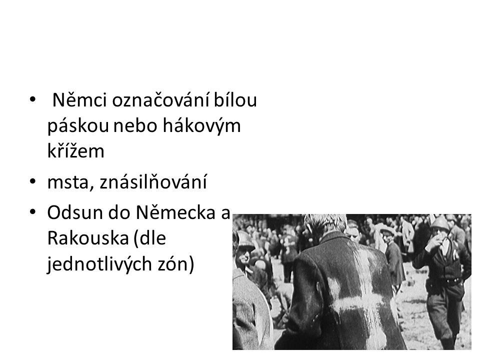 Návrat Židů a Romů z asi 120 tisíc Židů přežilo asi 14 000 Češi se na ně po návratu dívali jako na Němce většina odchází do Izraele (vznik 1949) Romové – rozptýleni po republice bez respektování jejich zvyklostí a obyčejů ukončeno kočování, likvidace romských osad