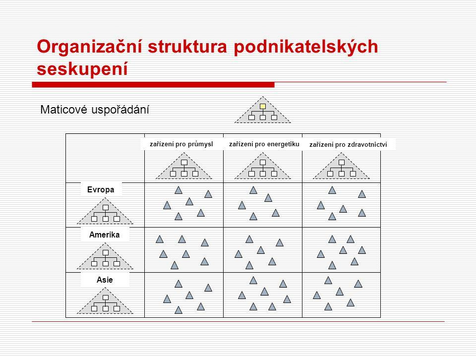 Organizační struktura podnikatelských seskupení zařízení pro průmyslzařízení pro energetiku zařízení pro zdravotnictví Evropa Amerika Asie Maticové us