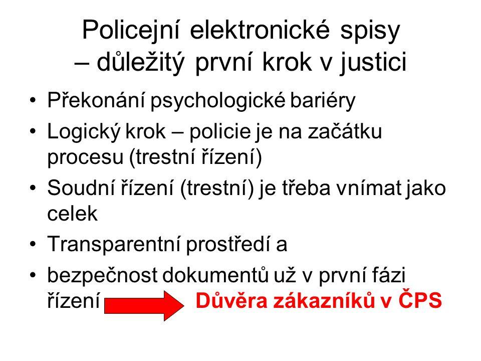 Policejní elektronické spisy – důležitý první krok v justici Překonání psychologické bariéry Logický krok – policie je na začátku procesu (trestní řízení) Soudní řízení (trestní) je třeba vnímat jako celek Transparentní prostředí a bezpečnost dokumentů už v první fázi řízení Důvěra zákazníků v ČPS