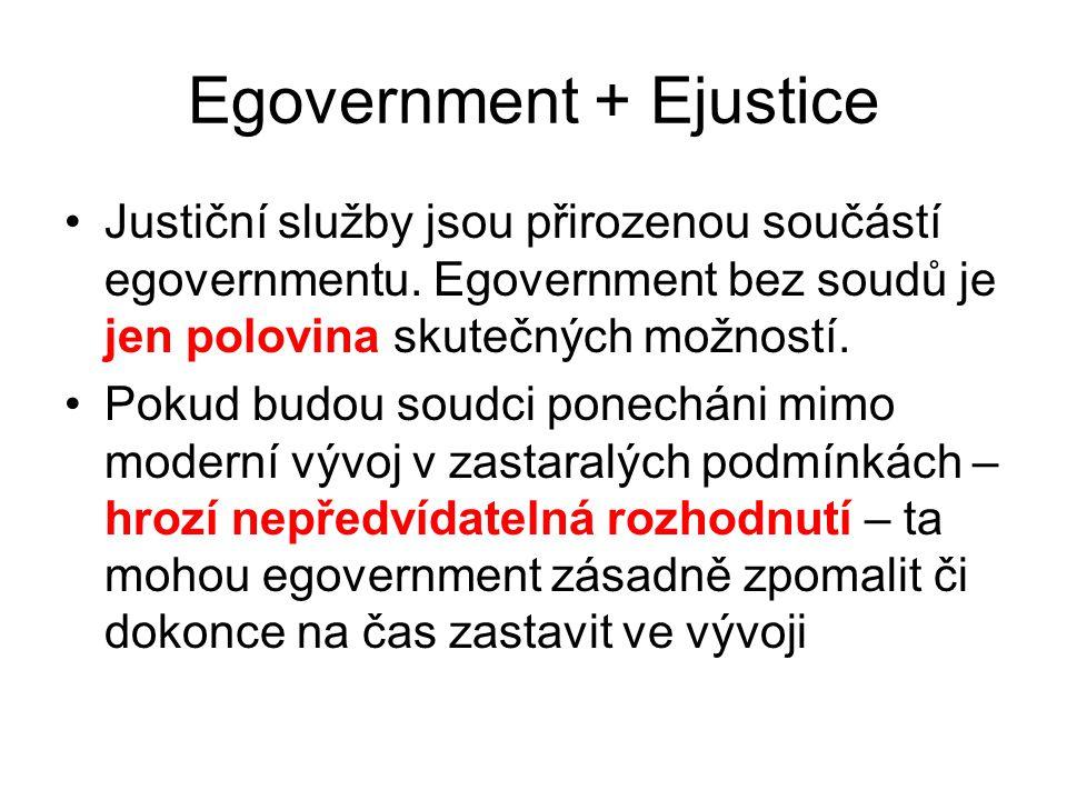 Egovernment + Ejustice Justiční služby jsou přirozenou součástí egovernmentu.