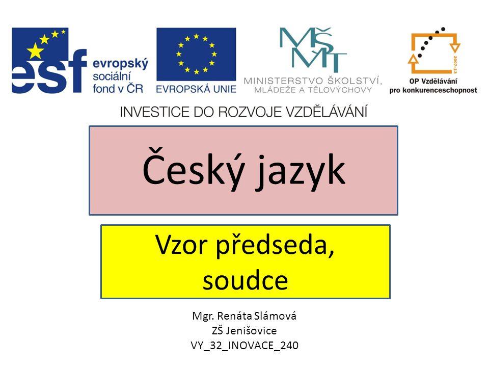 Vzor předseda, soudce Český jazyk Mgr. Renáta Slámová ZŠ Jenišovice VY_32_INOVACE_240