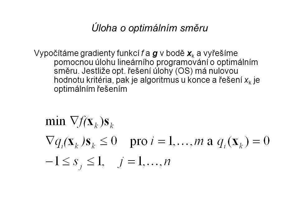 Zoutendijkova metoda 2. krok Určení optimálního směru: Směr, který svírá minimální úhel s gradientem a je přípustný. Příslušná úloha je nelineární a n
