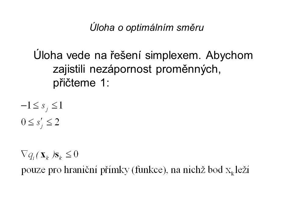 Úloha o optimálním směru Vypočítáme gradienty funkcí f a g v bodě x k a vyřešíme pomocnou úlohu lineárního programování o optimálním směru. Jestliže o