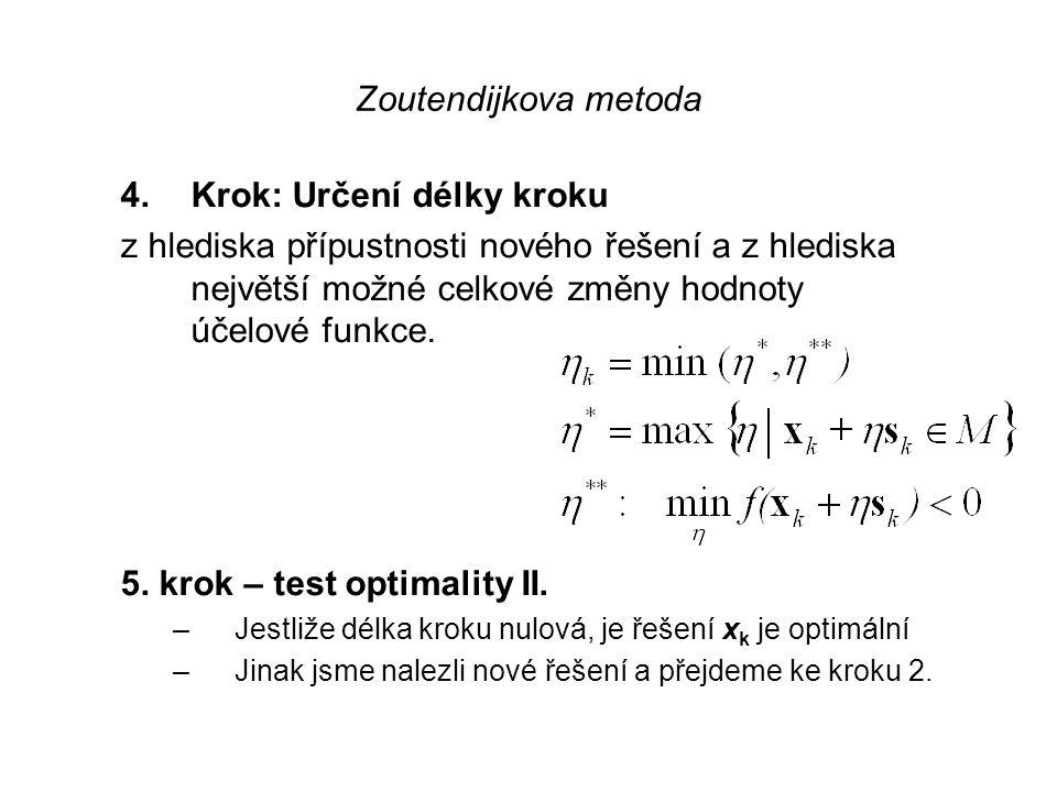Zoutendijkova metoda 3. krok: Určení optima Jestliže opt. řešení úlohy (OS) má nulovou hodnotu kritéria, pak je algoritmus u konce a řešení x k je opt