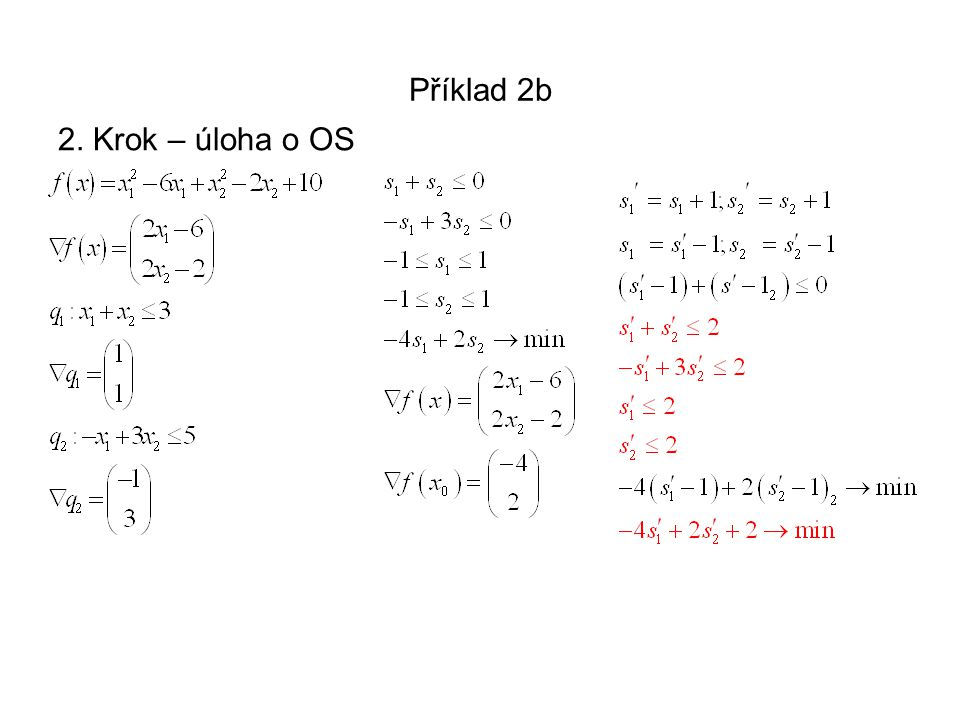 Příklad 2b 1. krok Výchozí bod splňuje první 2 omezující podmínky jako rovnice, tj. leží na příslušných hraničních přímkách