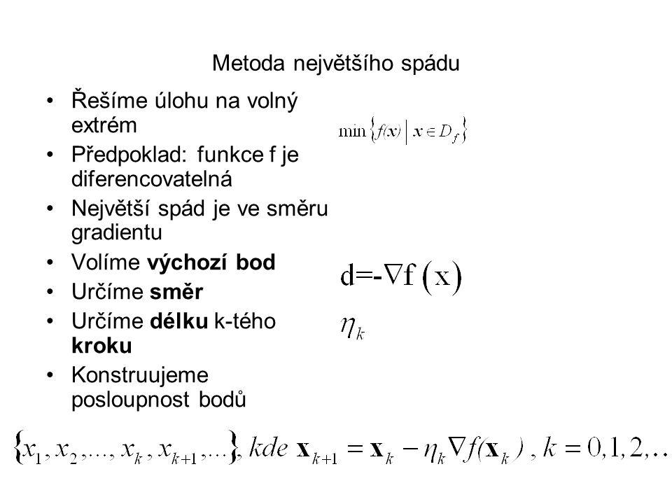 Gradientní metody Metoda největšího spádu (volný extrém) Zoutendijkova metoda (vázaný extrém)