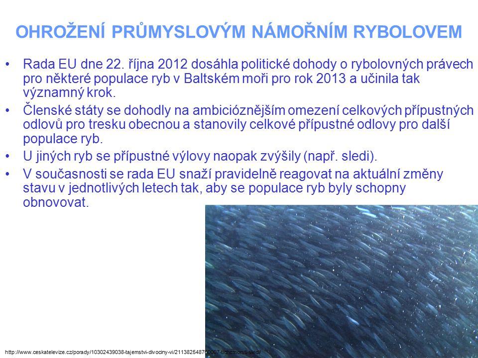 OHROŽENÍ PRŮMYSLOVÝM NÁMOŘNÍM RYBOLOVEM Rada EU dne 22. října 2012 dosáhla politické dohody o rybolovných právech pro některé populace ryb v Baltském