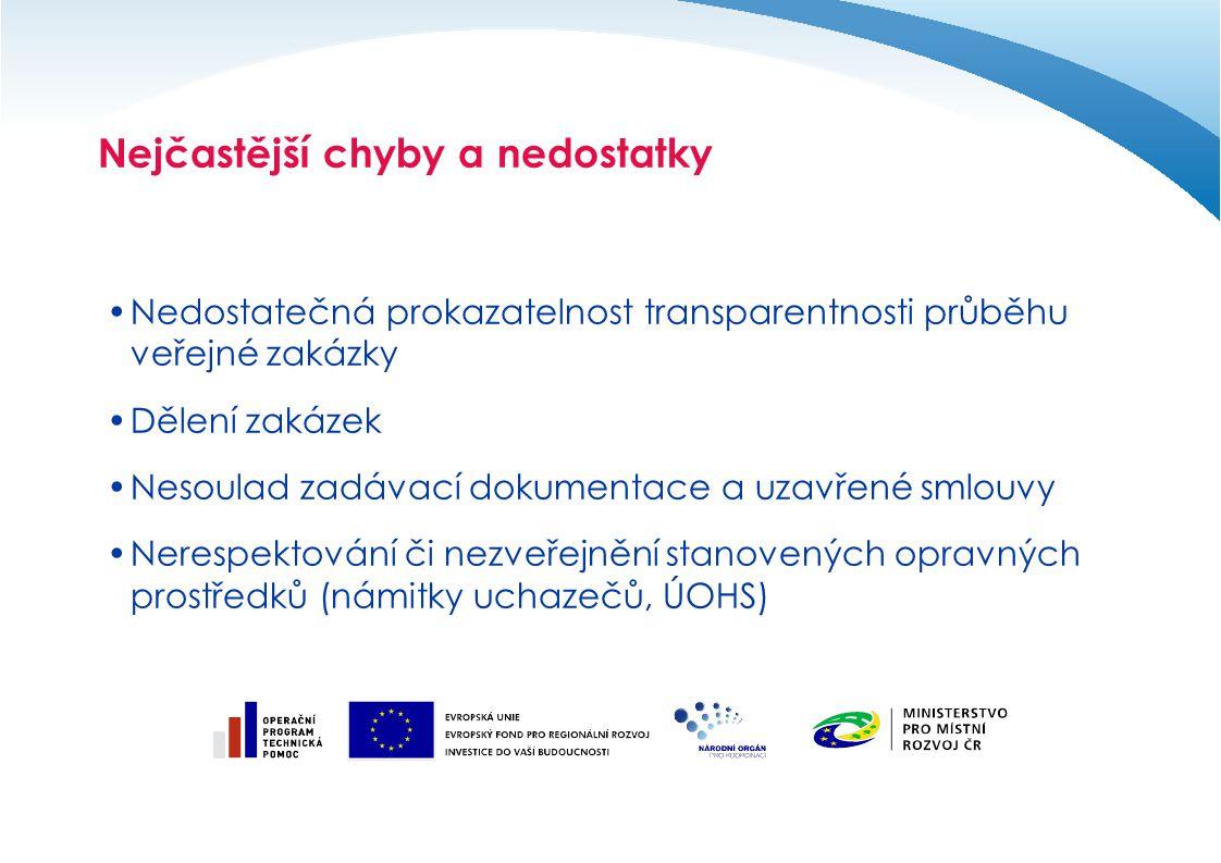 Nejčastější chyby a nedostatky Nedostatečná prokazatelnost transparentnosti průběhu veřejné zakázky Dělení zakázek Nesoulad zadávací dokumentace a uza