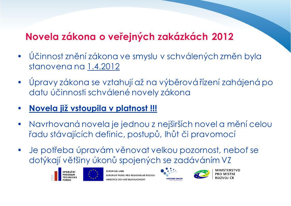 Účinnost znění zákona ve smyslu v schválených změn byla stanovena na 1.4.2012 Úpravy zákona se vztahují až na výběrová řízení zahájená po datu účinnos