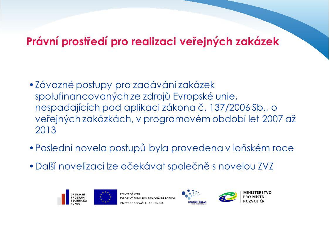 Právní prostředí pro realizaci veřejných zakázek Závazné postupy pro zadávání zakázek spolufinancovaných ze zdrojů Evropské unie, nespadajících pod ap