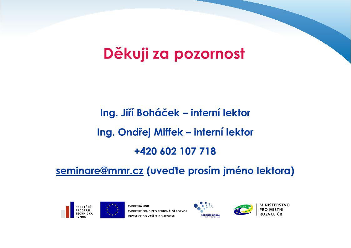 Děkuji za pozornost Ing. Jiří Boháček – interní lektor Ing. Ondřej Miffek – interní lektor +420 602 107 718 seminare@mmr.czseminare@mmr.cz (uveďte pro