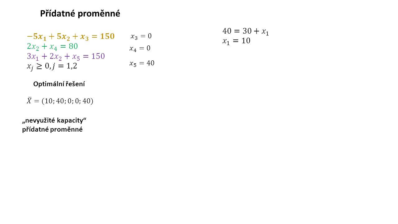 """Přídatné proměnné Optimální řešení """"nevyužité kapacity"""" přídatné proměnné"""