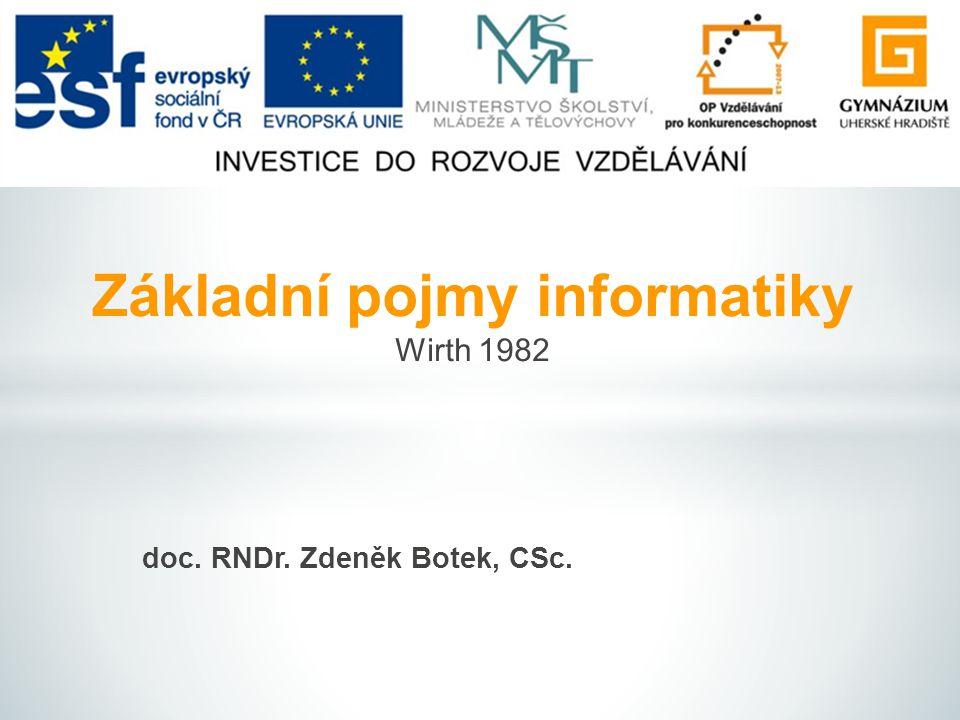 doc. RNDr. Zdeněk Botek, CSc. Základní pojmy informatiky Wirth 1982