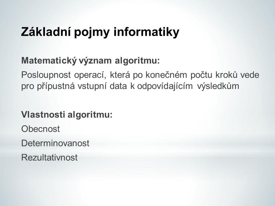 Základní pojmy informatiky Obecnost  Algoritmus řeší problém pro všechny přípustné množiny vstupních dat.