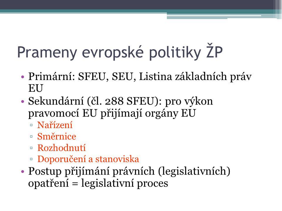 Prameny evropské politiky ŽP Primární: SFEU, SEU, Listina základních práv EU Sekundární (čl. 288 SFEU): pro výkon pravomocí EU přijímají orgány EU ▫Na