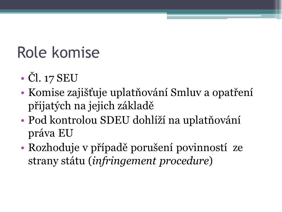 Role komise Čl. 17 SEU Komise zajišťuje uplatňování Smluv a opatření přijatých na jejich základě Pod kontrolou SDEU dohlíží na uplatňování práva EU Ro