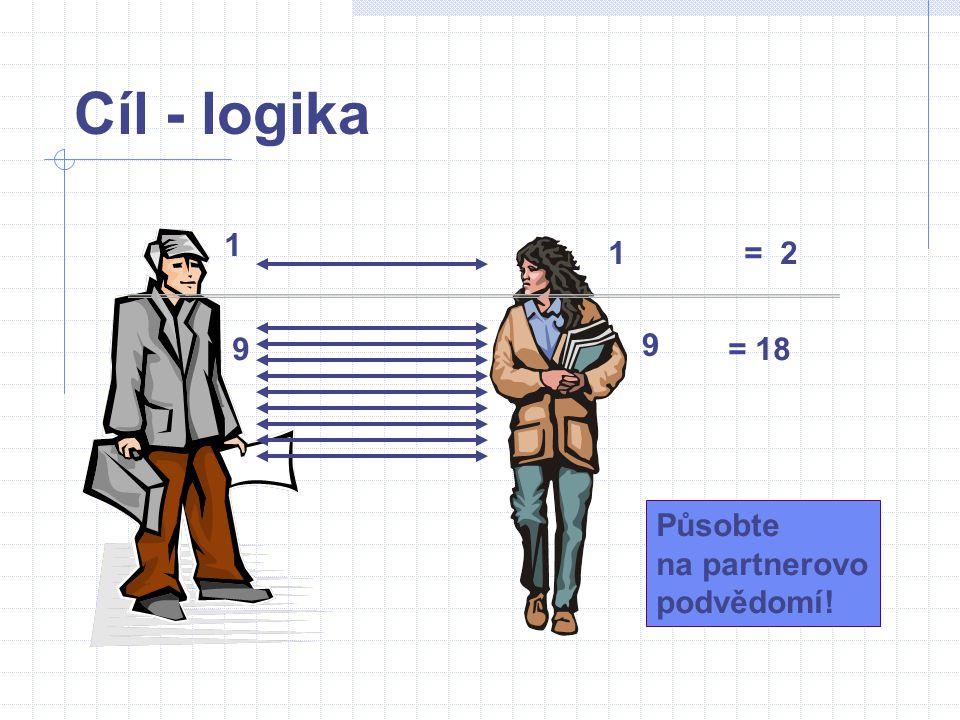 Cíl - logika 1 1= 2 9 9 = 18 Působte na partnerovo podvědomí!