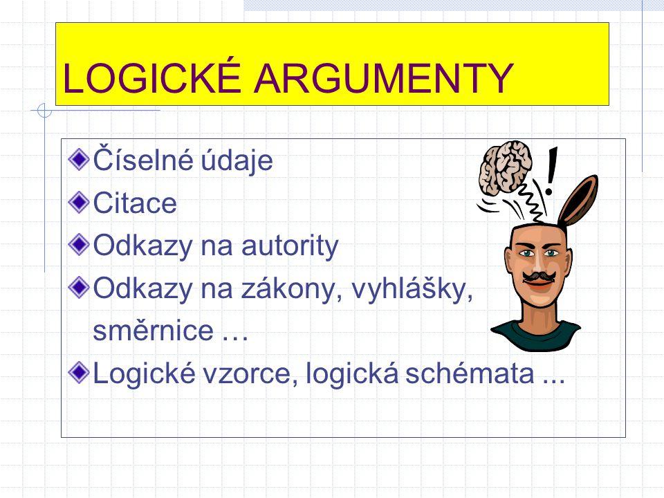LOGICKÉ ARGUMENTY Číselné údaje Citace Odkazy na autority Odkazy na zákony, vyhlášky, směrnice … Logické vzorce, logická schémata...