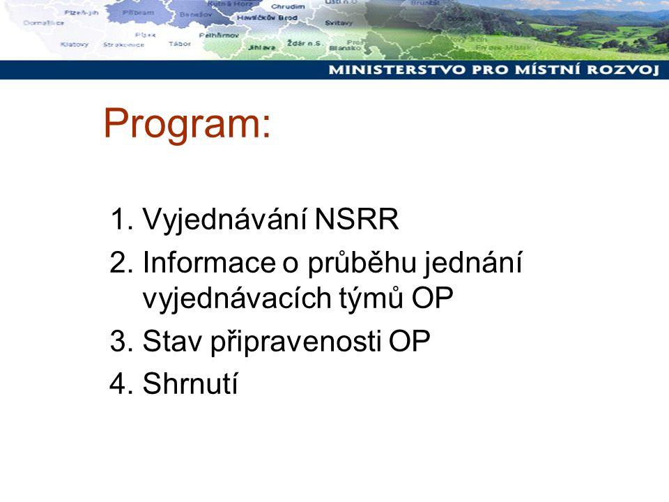 Program: 1. Vyjednávání NSRR 2. Informace o průběhu jednání vyjednávacích týmů OP 3.