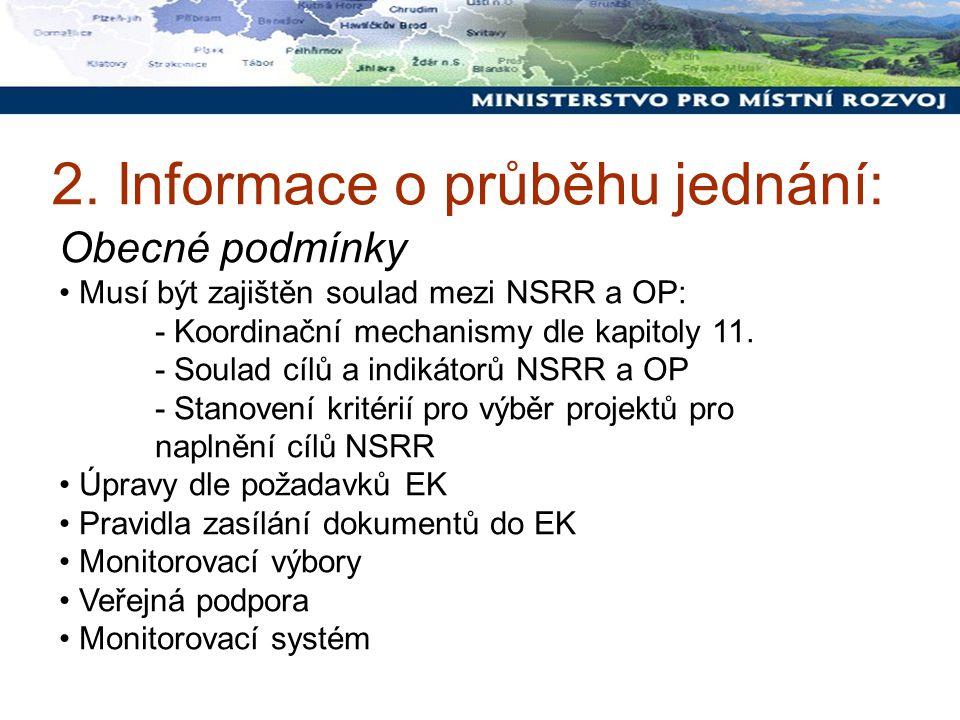 2. Informace o průběhu jednání: Obecné podmínky Musí být zajištěn soulad mezi NSRR a OP: - Koordinační mechanismy dle kapitoly 11. - Soulad cílů a ind