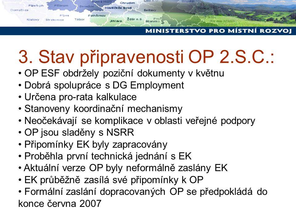 3. Stav připravenosti OP 2.S.C.: OP ESF obdržely poziční dokumenty v květnu Dobrá spolupráce s DG Employment Určena pro-rata kalkulace Stanoveny koord
