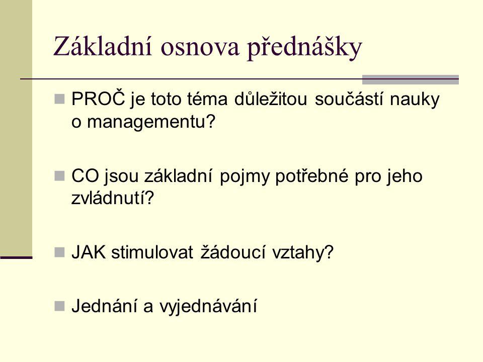 Základní osnova přednášky PROČ je toto téma důležitou součástí nauky o managementu? CO jsou základní pojmy potřebné pro jeho zvládnutí? JAK stimulovat