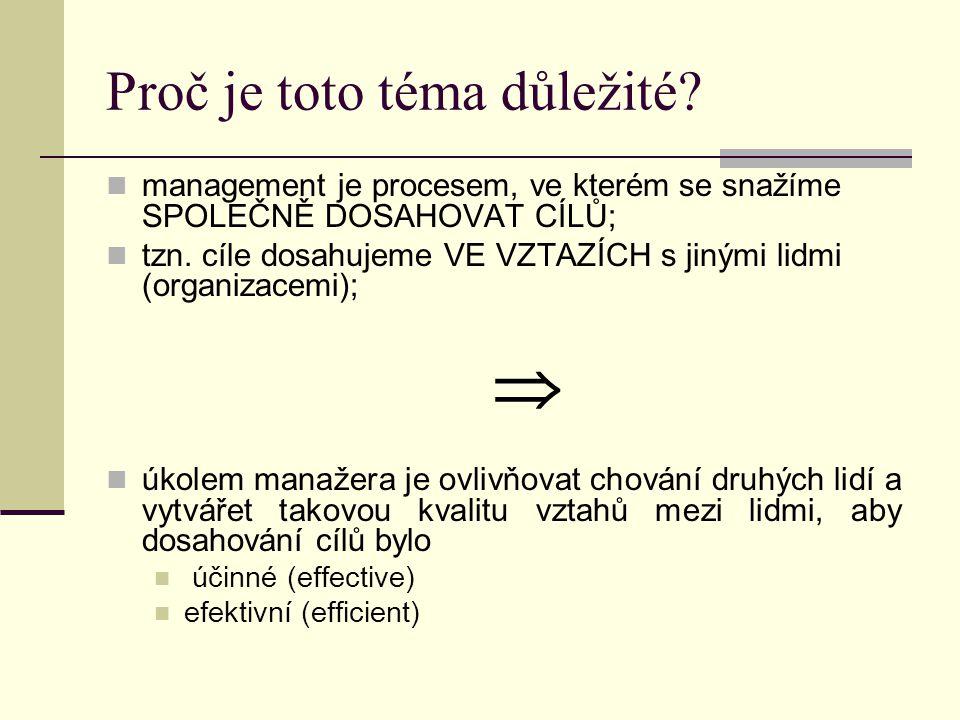 Proč je toto téma důležité? management je procesem, ve kterém se snažíme SPOLEČNĚ DOSAHOVAT CÍLŮ; tzn. cíle dosahujeme VE VZTAZÍCH s jinými lidmi (org