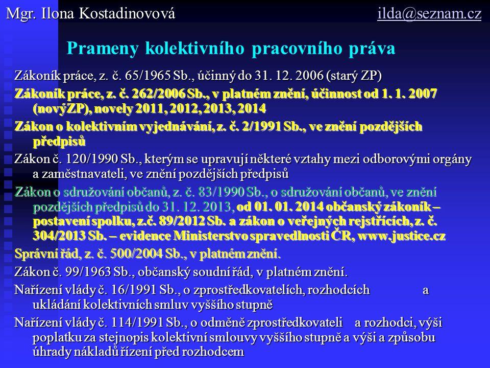 Prameny kolektivního pracovního práva Zákoník práce, z. č. 65/1965 Sb., účinný do 31. 12. 2006 (starý ZP) Zákoník práce, z. č. 262/2006 Sb., v platném